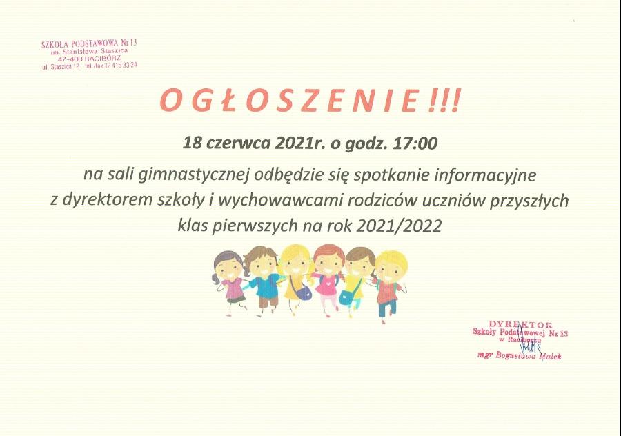 Zaproszenie dla rodziców przyszłych klas 1